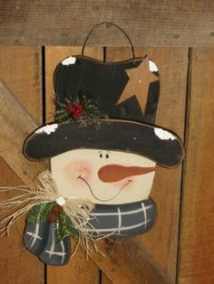 Primitive Snowman Head with Scarf Pine and by WoodRufflesLacePrims