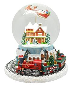 Lightahead Musical Flying Santa Figurine Water Snow Globe With Train Revolving in Poly resin