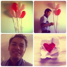 Colocar recadinhos em bexigas e deixar o seu amor brincar de 'cupido'! Fica ainda melhor com bexigas em formato de coração!