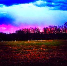 Sunset over the farm.