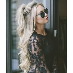 40 Easy and Chic Half Ponytails for Straight, Wavy and Curly Hair ❤ liked on Polyvore featuring hair and hairstyles