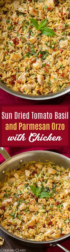 Sun Dried Tomato Basil and Parmesan Orzo with Chicken - cooked in one pan, SO easy to make, ready in 30 and so unbelievably delicious! Definitely a repeat recipe!