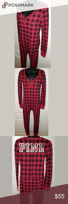 VS PINK M Red & Black Plaid Onesie W/ Gold Medium EXCELLENT CONDITION-WORN ONCE Reasonable OFFERS Accepted  VS PINK Onesie - Size Medium - Red & Black Plaid - Has Butt Flap- From Smoke Free Home - Super Fast Shipping PINK Victoria's Secret Intimates & Sleepwear Pajamas