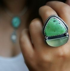 Birthing of the Sea - Variscite and Prehnite Sterling Silver Ring