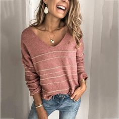 Autumn and Winter Stitching Sweater Striped V-neck Sweater Shirt Women Sweaters Pullover Women Sweater Cool Sweaters, Sweaters For Women, Casual Outfits, Cute Outfits, Winter Outfits, Christmas Party Outfits, Pullover, Sweater Shirt, Types Of Sleeves