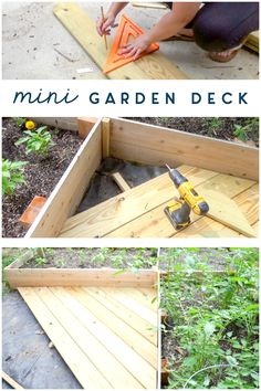 "Lots of scrap deck boards that can't be returned... perfect! Check out this little ""mini deck"" that saves my feet from the muddy patch near my garden beds. #gardenbed #gardening #diy #howto #cleverideas #vegetablegarden #outdoor #summer #clever #uglyducklinghouse"