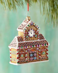 Christmas Shopaholic: Darling Gingerbread House Ornaments from Christopher Radko Radko Christmas Ornaments, Handcrafted Christmas Ornaments, House Ornaments, Christmas Gingerbread, Christmas Baubles, Christmas Candy, Rustic Christmas, Vintage Christmas, Christmas Decorations