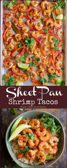 Pan Shrimp Tacos A one pan, healthy meal that combines a delicious marinade and blend of spices, juicy shrimp, some fresh veggies; all while alleviating your meal planning stress! This simple dinner can be made in less than 20 minutes. Serve over a bed of Fish Recipes, Seafood Recipes, Paleo Recipes, Mexican Food Recipes, Cooking Recipes, Pizza Recipes, Appetizer Recipes, Bread Recipes, Dinner Recipes