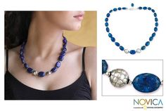 Sterling silver planets shine from the lapis lazuli universe conjured in this necklace by Narayani. Legend says that dreaming of lapis foretells love will be forever truthful, the stone exalted in this handcrafted necklace.