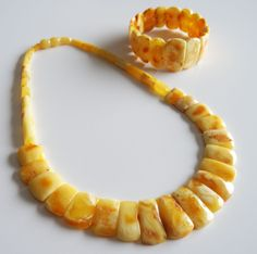 ANTIQUE VINTAGE BALTIC AMBER EGG YOLK WHITE Beads NECKLACE/BRACELET #Handmade…