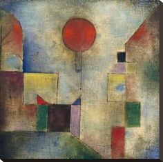 Stretched Canvas Print: Red balloon by Paul Klee : 24x24in