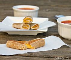 Grilled Cheese Rollups by sheknows: Dip these simple grilled cheese rolls in a bowl of creamy tomato soup or your favorite marinara. #Grilled_Cheese_Roll_Ups