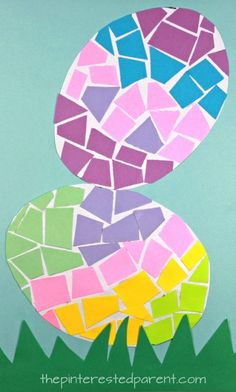 Construction paper Mosaic Easter Eggs - spring and Easter arts and crafts for preschoolers and kids. Construction paper Mosaic Easter Eggs - spring and Easter arts and crafts for preschoolers and kids. Easter Arts And Crafts, Easter Egg Crafts, Spring Crafts For Kids, Paper Crafts For Kids, Paper Crafting, Easter Eggs, Bunny Crafts, Easter Table, Easter Decor
