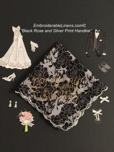 Black Rose and Silver Print No Ugly Crying Handkerchief Set of 6