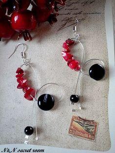 Χειροποίητα σκουλαρίκια με κόκκινο κοράλλι και αχάτη