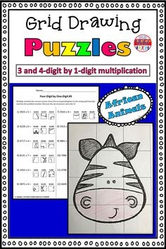 These grid drawings are a fun and creative way for your kids to practice their multiplication skills! Kids simply find the box that corresponds with the correct multiplication answer and transfer it into the square on the blank grid. Each page leads to a different picture of an African animal to color.  This set includes three pages of 3-digit by 1-digit practice, and three pages of 4-digit by 1-digit practice. Multiplication Grid, Multiplication Activities, Math Worksheets, Math Resources, 5th Grade Math, Second Grade, Kinesthetic Learning, Love Teacher, Little Learners