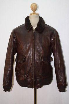 Vtg WILLIS & GEIGER G-1 US NAVY Pilot Flight GOATSKIN Leather Jacket Size 42