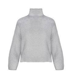 Yoins High Neck Knitted Sweater in Grey (240 CNY) ❤ liked on Polyvore featuring tops, sweaters, yoins, grey, high neck top, high neckline tops, long sleeve knit sweater, grey sweater and knit sweater