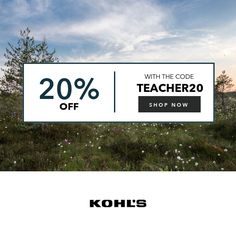 Get 20% Off Sitewide + $10 Kohls Cash for Every $50 Spent + Free Shipping over $75.