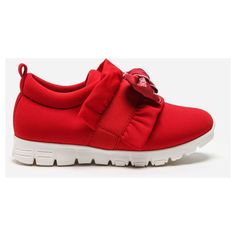 Dolce & Gabbana Lycra Sneakers With Bow (5.085.000 IDR) ❤ liked on Polyvore featuring shoes, sneakers, red, lycra shoes, red bow shoes, red trainers, red sneakers and red shoes
