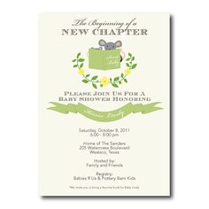 Stock the Library Gender Nuetral Story Book Baby Shower Invitation - Green