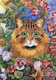 Louis Wain In The Garden Canvas Print