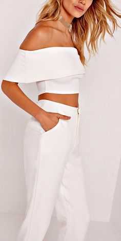 crepe bardot cropped top white. All white outfit | Crop top | White pants | Monochrome outfit | Fall styles | Fashion blogger (affiliate)