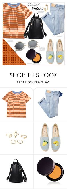 """""""casual stripes"""" by mycherryblossom ❤ liked on Polyvore featuring Soludos and Laura Mercier"""