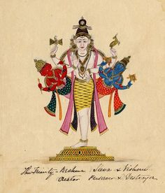 Shiva/Trimurti. Dressed in a tiger skin, he is depicted one footed (ekapada), and four-armed (caturbhuja). He carries in his upper right hand the damaru, in his upper left hand the mriga, his lower right hand is in abhaya and his lower left in varada mudra. (cont. below) Company School, Tamil Nadu, c.1820.