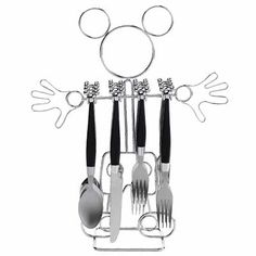 Mickey Mouse silverware and holder, Disney kitchen