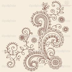 henna tattoo on neck | Paisley Pattern Henna Mehndi Tattoo Design