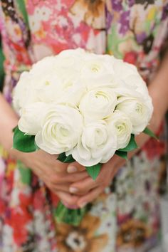 white ranunculus bridesmaid bouquet