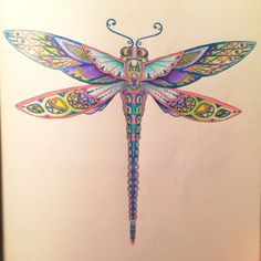 I absolutely love this design and seriously want it on my forearm Dragonfly Illustration, Dragonfly Drawing, Dragonfly Art, Dragonfly Tattoo, Enchanted Forest Book, Type Tattoo, Johanna Basford Coloring Book, Mandala, Zentangle Drawings
