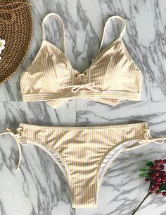 Feeling tired and craving for a leave? Tap into a happy mood with Cupshe Little Cute Stripe Bikini Set. Stripe design and chic tie at bottom sides. Pretty and support you perfectly~ Free shipping! Shop Now.