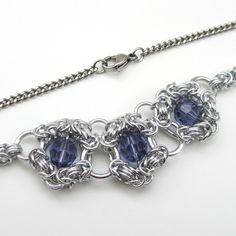 Collar de cota de malla de cristal de tanzanita
