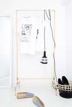 DIY Nordic-Inspired Copper And Wood Clothing Rack | Shelterness