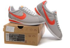 Nike Cortez Womens Nylon 365941 061 Grey Orange