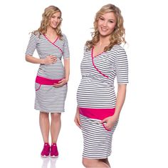 Viva la Mama | Summer is coming! Nursing dress MARIOLA (black-white striped with pink waistband: This sporty but playfull short dress is a must-have for your upcoming spring/summer pregnancy wardrobe! MARIOLA is also ideal for discreet breastfeeding as well as after the nursing period. The dress is a wonderful gift for Valentine's Day, birth or baby shower! #maternityfashion