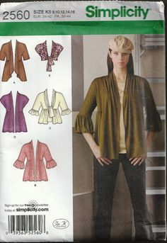 UNCUT Simplicity Cardigan/Shrug Pattern 2560 by SewReallyCute, $4.00