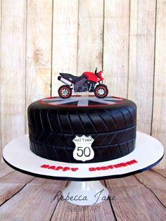 Motorbike tyre cake by Rebecca Jane Sugar Art