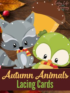 A great idea to practice your fine motor skills with these adorable autumn animals lacing cards