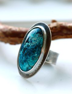 Azurite Ring in Oxidized Sterling Silver
