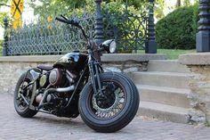 Harley-Davidson bobber by Motorcycle Rehab blackspokescoloredwheels.com