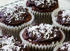 Sugar Free Chocolate Coconut Muffins~ Only Calories per muffin! Sugar Free Muffins, Sugar Free Diet, Sugar Free Recipes, Coconut Muffins, Sugar Free Chocolate, Natural Sugar, Muffin Recipes, Cakes And More, Mini Cupcakes