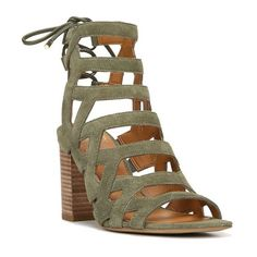 Women's Sarto By Franco Sarto Connie Block Heel Cage Sandal (€120) ❤ liked on Polyvore featuring shoes, sandals, light green suede, franco sarto footwear, tall shoes, franco sarto sandals, franco sarto shoes and suede sandals