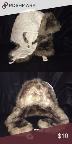 Winter Flap Hat White winter flap/hunter hat with fur, never worn! Target Accessories Hats