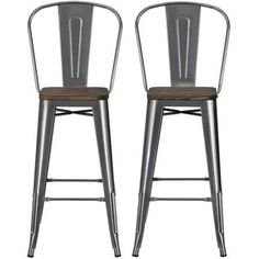 """Dorel Home Products Luxor 30"""" Metal Bar Stool with Wood Seat, Set of 2, Multiple Colors - Walmart.com"""