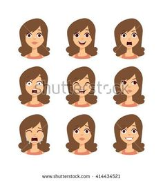 Girl emotion faces cartoon vector illustration. Woman expression emoticons face icons cute style. Happy, sadness, cry and scary symbols