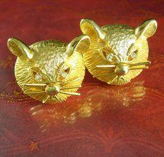 Large Exotic Mice Cufflinks gold rhinestone by NeatstuffAntiques