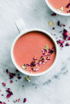 Elevate your bedtime routine with this Pink Moon Milk fit for a princess. Made with vanilla almondmilk, beetroot, turmeric, agave, dried rose hips, and edible gold. | Pinned to Loveleaf Co. Moon Milk Recipe, Cold Drinks, Non Alcoholic Drinks, Beverages, Cocktails, Pink Moon, Bedtime Routine, Healthy Drinks, Yummy Drinks